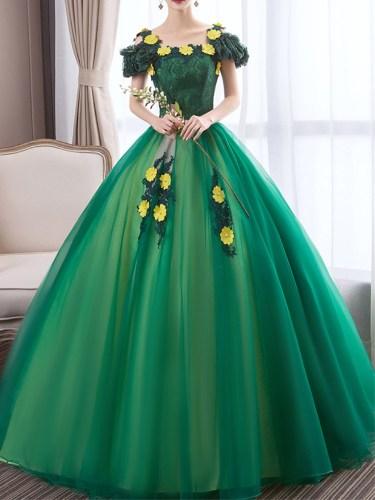 Women's Full Dress Square Collar Lace Ball Gown Regular Low Waist Sleeveless Bandeau Maxi Slash Neck