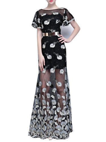 Women's Plus Size Evening Dress Crew Neck Lace Flower Floor Length Mid Waist Trumpet/Mermaid Short Sleeve Slim