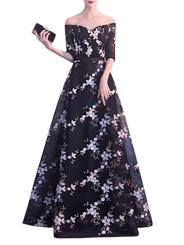 Women's Full Dress Half Sleeve Floral Slash Neck Comfy Chic