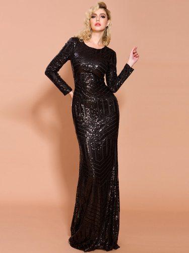 Women's Full Dress Sequins Elegant Trailing A Line Dress Sequined Loose Maxi Crew Neck Long Sleeve High Waist