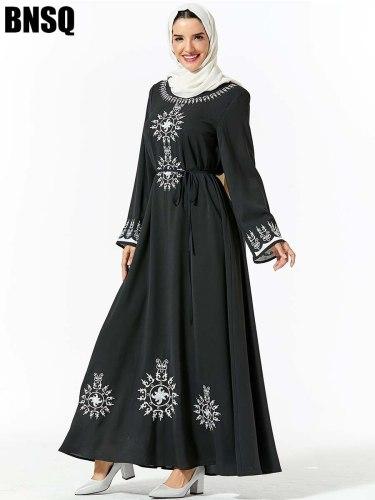 Women's Plus Size Kaftan Dress Arabian Embroidery Abstract Slim Crew Neck Long Sleeve