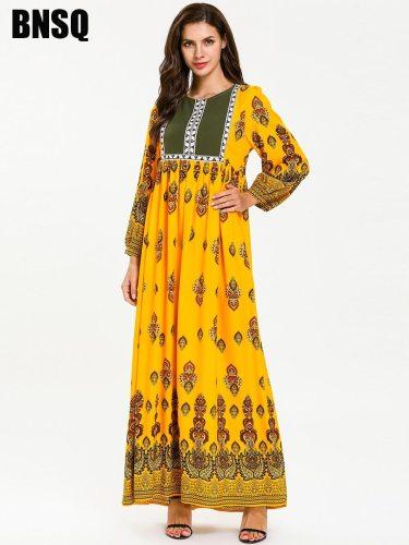 Women's Kaftan Dress Floral Ruching Floral Print Long Sleeve Slim Crew Neck