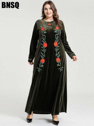 BNSQ Women's Kaftan Dress Plus Size Crew Neck Long Sleeve Plant Loose Embroidery