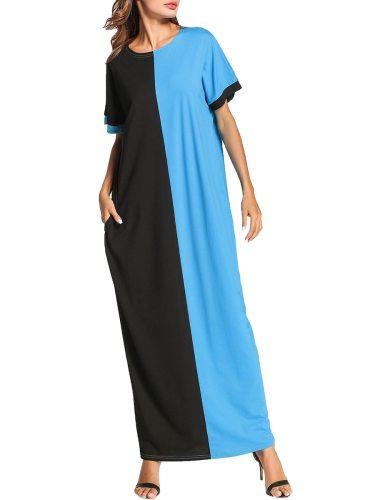 Women's Kaftan Dress Plus Size Color Block Short Sleeve Casual Maxi Long Patchwork Pocket Loose