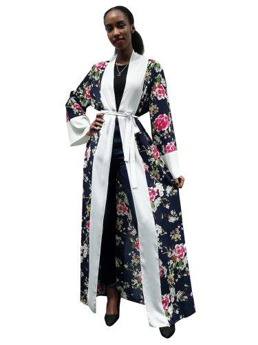 Women's Abaya Fashion Floral Print Arabian Long Sleeve Loose