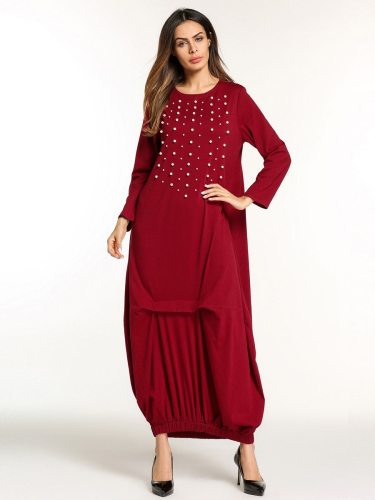 Women's Kaftan Dress Bead Decoration Design Arabic Maxi Long Long Sleeve Solid Color Crew Neck Loose Rivets