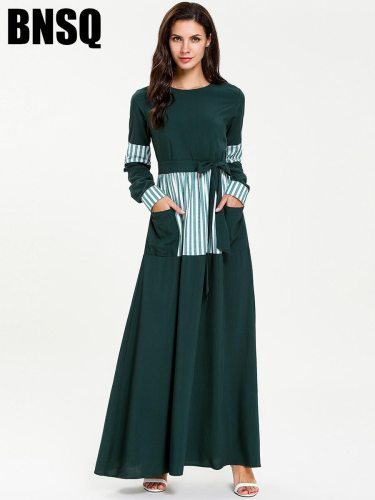 Women's Kaftan Dress Maxi Long Lace up Crew Neck Striped Slim Long Sleeve