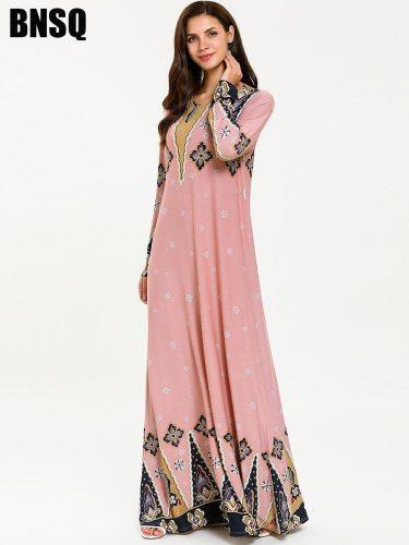 Women's Kaftan Dress Print Long Sleeve Crew Neck Floral Print Slim