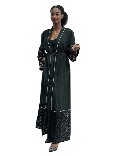 Women's Abaya Patched Hollow Out Arabian Long Sleeve Lace Loose