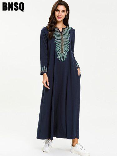 Women's Kaftan Dress Maxi Long Slim Embroidery Crew Neck Long Sleeve Solid Color