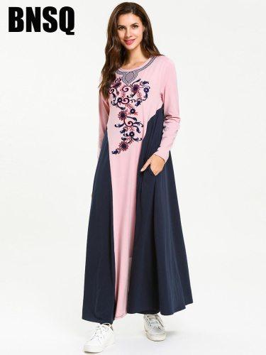 BNSQ Women's Kaftan Dress Long Sleeve Crew Neck Slim Patchwork Embroidery
