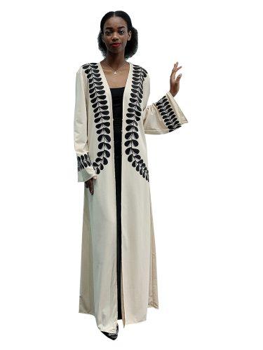 Women's Abaya Leaf Print Casual Arabian Loose Long Sleeve