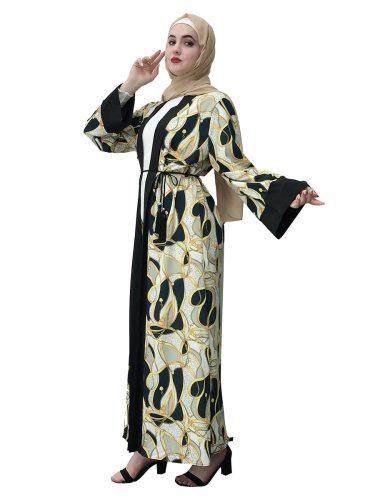 Women's Abaya Casual Elegant Fashion Print Long Sleeve Lace up Loose