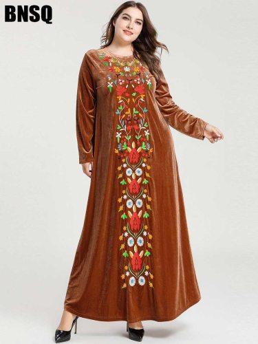 BNSQ Women's Plus Size Kaftan Dress Pleuche Arabian Crew Neck Plant Embroidery Slim Long Sleeve