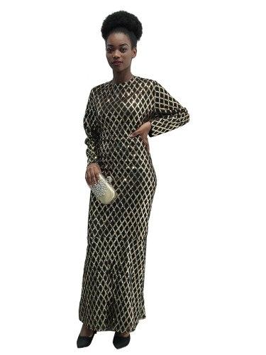 Women's Kaftan Dress Fashion Long Sleeve Crew Neck Arabian Loose Geometry