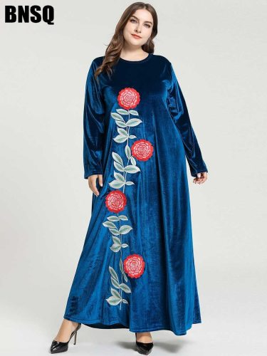BNSQ Women's Kaftan Arabian Slim Crew Neck Plant Long Sleeve Embroidery