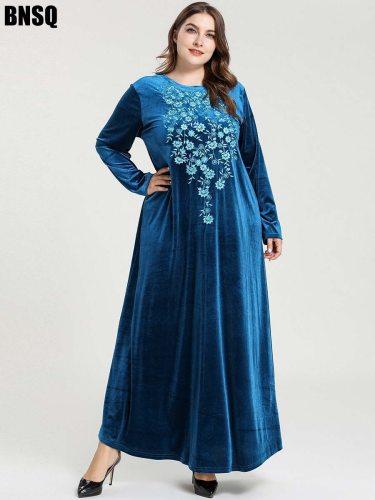 BNSQ Women's Kaftan Plus Size Arabian Slim Crew Neck Patchwork Embroidery Long Sleeve
