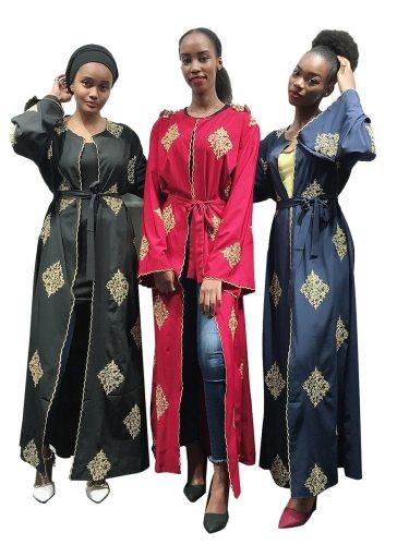 Women's Abaya Retro Embroidery Crew Neck Long Sleeve Arabian Loose