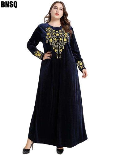 BNSQ Women's Kaftan Mu Plus Size Crew Neck Solid Color Slim Long Sleeve Embroidery