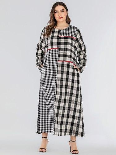 Women's Abaya Crew Neck Plaid Arabian Pocket Patchwork Loose Long Sleeve