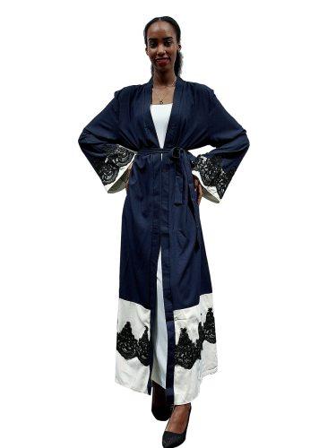 Women's Abaya Fashion Color Block Lace Arabian Long Sleeve Patchwork Loose