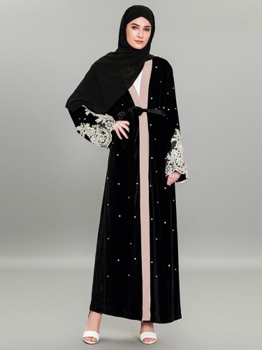 Women's Abaya Lace Patched Beading Open Front Velvet Long Sleeve Loose including sash