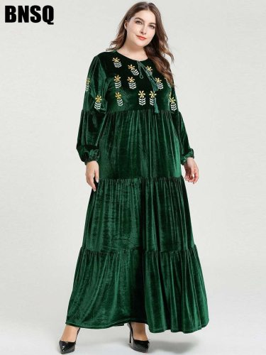 BNSQ Women's Plus Size Kaftan Dress Loose Pleuche Arabian Embroidery Plant Long Sleeve Crew Neck Slim