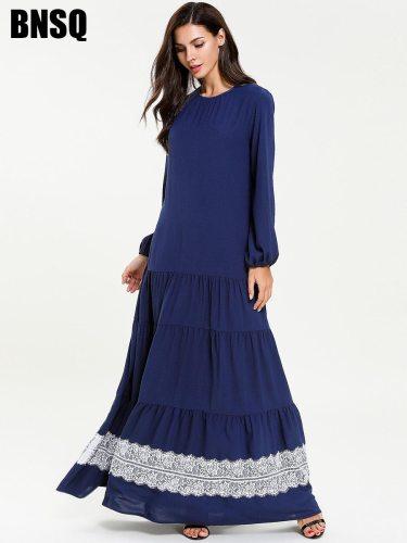 Women's Kaftan Dress Fashion Crew Neck Long Sleeve Solid Color Lace