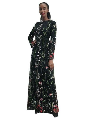 Women's Kaftan Fashion Floral Arabian Crew Neck Plant Slim Long Sleeve Embroidery