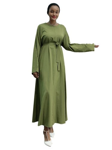 Women's Kaftan Dress Simple Arabian Long Sleeve Crew Neck Solid Color