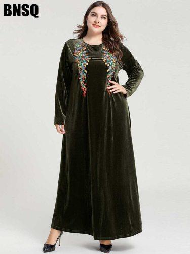 BNSQ Women's Kaftan Arabian Long Sleeve Slim Plant Crew Neck Embroidery