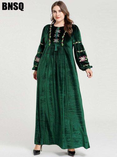 BNSQ Women's Kaftan Plus Size Fashion Arabian Crew Neck Plant Slim Embroidery Long Sleeve