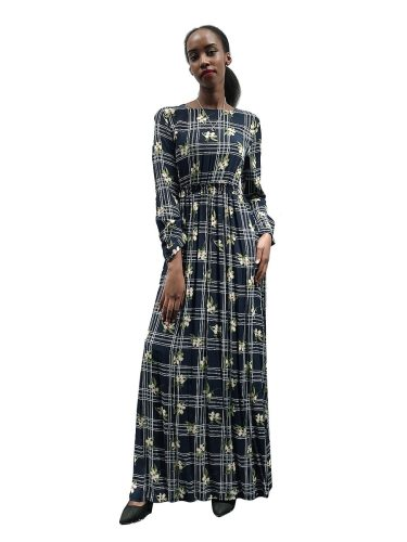 Women's Kaftan Dress Long Sleeve Floral Print Plaid Arabian Plant