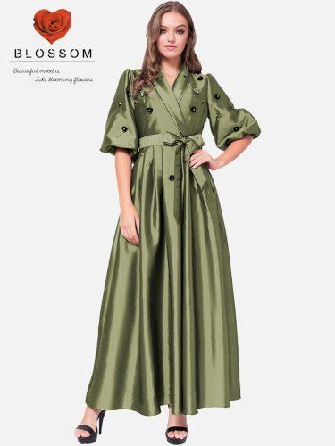 Women's Kaftan Lantern Sleeve Arabian V Neck Rhinestone Half Solid Color