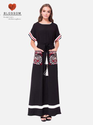 Women's Kaftan Pocket Short Sleeve Arabian Embroidery Solid Color Crew Neck Loose Shorts Sleeve