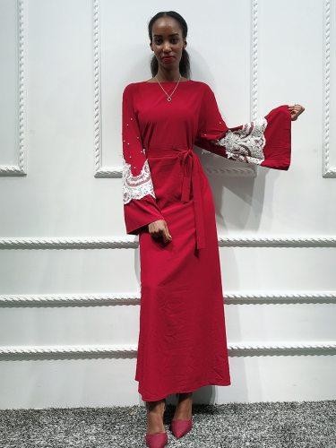 Women's Kaftan Dress Arabian Crew Neck Patchwork Long Sleeve