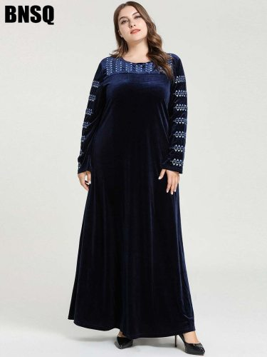 BNSQ Women's Kaftan Fashion Casual Embroidery Slim Long Sleeve Plant Crew Neck