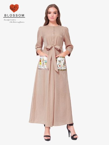 Women's Kaftan Dress Appliques Button Belt Arabian Solid Color Embroidery Crew Neck Three Quarters Sleeve