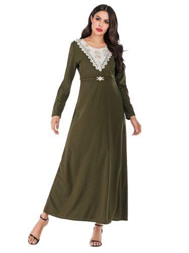 Women's Kaftan Arabian Solid Color Crew Neck Long Sleeve Lace Slim