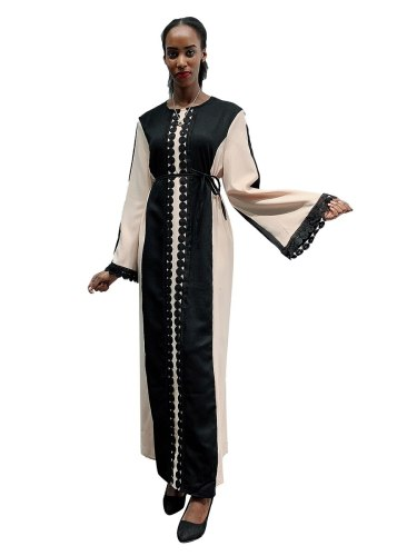 Women's Kaften Dress Patchwork Color Block Arabian Crew Neck Geometry Long Sleeve