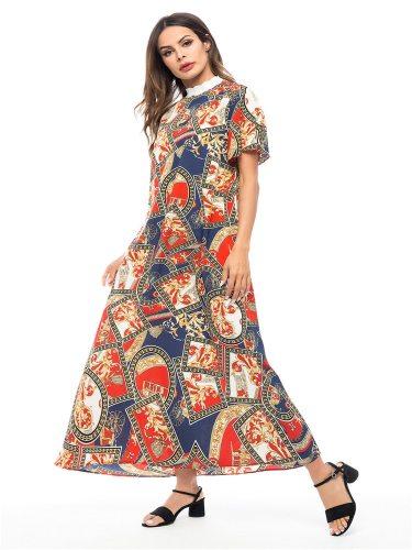 Women's Kaftan Patchwork Arabian Floral Print Turtle Neck Shorts Sleeve