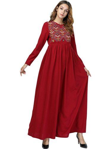 YIHENGMEI Women's Kaftan Dress Maxi Long Embroidery Patchwork Long Sleeve Crew Neck