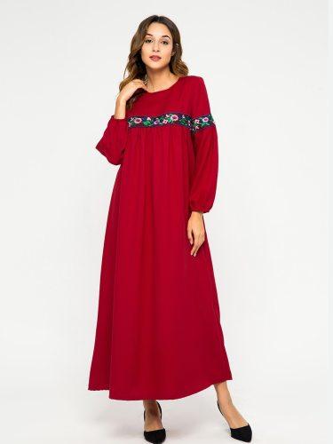 Women's Kaftan Dress Arabian Embroidery Crew Neck Long Sleeve Striped