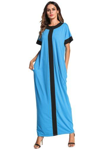 YIHENGMEI Women's Kaftan Color Block Crew Neck Short Sleeve Arabian Shorts Sleeve Patchwork