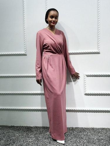 Women's Kaftan Dress V Neck Long Sleeve Arabian Solid Color