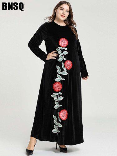 BNSQ Women's Kaftan Fashion Plant Crew Neck Embroidery Long Sleeve