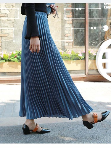 Women's Skirt Fashion Casual Pleated Solid Color Loose Mid Waist Maxi