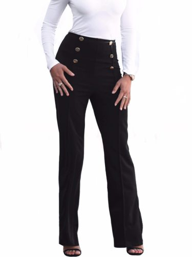 Women's Flared Pants Button Slim Solid High Waist