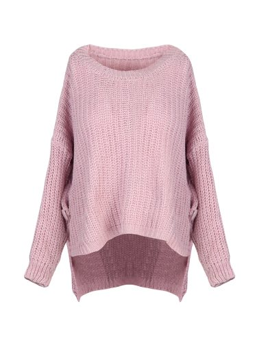 Tang Jing Rui Women's Sweater Fashion Casual Solid Color Crew Neck Regular Basics Patchwork Long Sleeve