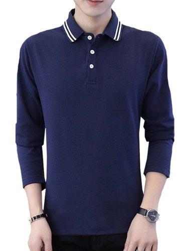 Men's Polo Shirt Button Turn Down Collar Long Sleeve Fashion